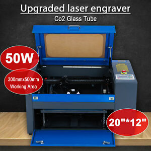 New 50w Laser Engraving Machine 20 12 300 500mm Co2 Engraver Cutter W Rotary