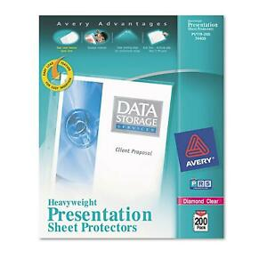 Avery Top Load Poly Sheet Protectors Heavy Letter Diamond Clear 200ct Elegant