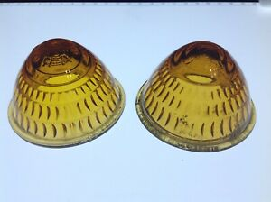Pair Beehive Glass Marker Cab Clearance Light Lens Vintage Do ray Truck Trailer