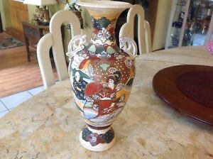 Antique Japan Meiji Period Large Handpainted Satsuma Earthenware Vase Red Signed