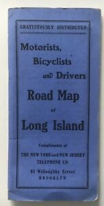 1905 Motorists Bicyclists Drivers Road Map Of Long Island Hammond Nynj Tel Co