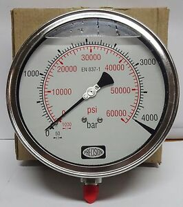 High Pressure Gauge 4000 Bar 60000 Psi gly Filled ss Body crdi waterjet Etc