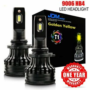 2x Led Headlight 9006 Hb4 3000k High Beam Or Fog Light Drl Bulbs Golden Yellow