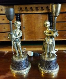 Antique French Louis Xv Candelabra Lamps Figures Gilded Bronze Porphyry Marble