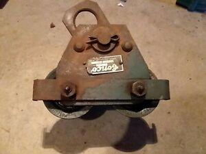 Vintage 1940 s Antique Industrial Conco 1 Ton Chain Hoist Beam Trolley Dolly