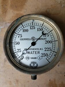 Antique Vintage Grinnell 1928 Water Pressure Gauge Steampunk Brass Fire