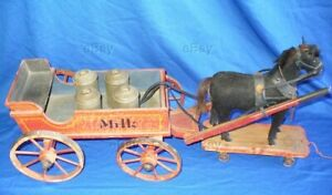 Antique German Wooden Milk Wagon Horse Drawn Toy Cans Wood Platform Pull Painted