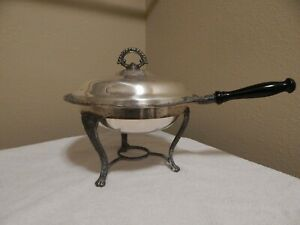 Vintage Silver Plated Chafing Dish With Wooden Handle Stand