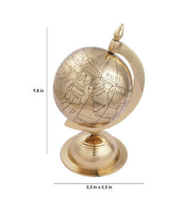 Vintage Collectible Brass Antique Style World Map Globe Classy Desk D Cor Ag 07
