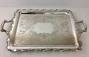 Webster Wilcox Large Silverplate Handled Footed Butlers Tray