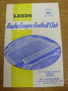 01 12 1970 Rugby League Programme: BBC Floodlight Competition Semi Final Leeds GBP 2.99
