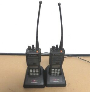 Lot 2x Motorola Mts2000 2 Way Radio W charger H01uch6pw1bn Unprogrammed