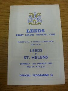 13 01 1973 Rugby League Programme: Players No.6 Trophy Competition Semi Final L GBP 2.99
