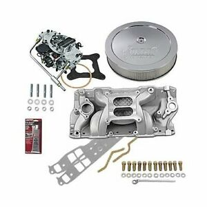 Sbc Chevy 350 Stage 3 Intake Manifold 750 Cfm V S Carb Air Cleaner Combo