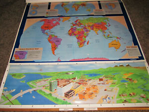 Map World United States Pull Down Political Physical Elementary School G Cram