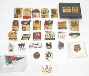 29 OLYMPICS PINS COCA-COLA ATLANTA AT&T BARCELONA SECURITY PANOSONIC 3M OLSEN