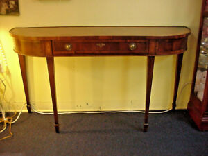 Vintage Sofa Console Table Curved Sides W Drawer Foyer Entry Way Nice Veneer