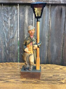 Antique German Black Forest Hand Carved Wind Up Whistling Man By Lamp Post P R