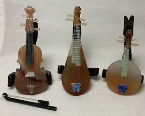 3 Miniature Chinese Musical Instruments Hand Carved Jade Semi Precious Stones