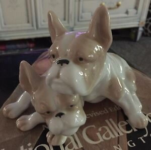 Large Ceramic Porcelain French Bulldogs Animal Figurine Japan
