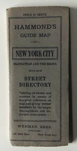 Vintage 1914 Hammond S Guide Map Of New York City Folding Pocket Wehman Bros