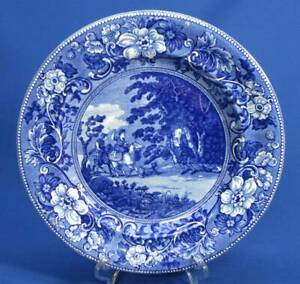 Staffordshire Romantic Blue White Doctor Syntax Bound To A Tree Plate