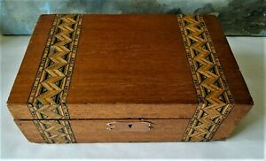 Antique Victorian Wood Box With Lovely Inlaid Marquetry Turnbridge Ware