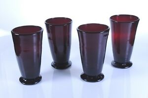 4 Clevenger Ruby Red Footed Tumblers 1935 45 South Jersey Freeblown