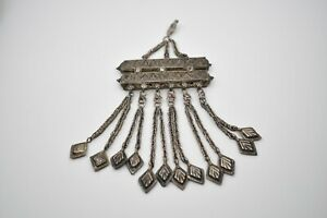 Chinese Antique Silver Pendant With Tassels Beautiful Detail