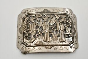 Incredible Antique Chinese Sterling Silver Buckle Amazing Detail