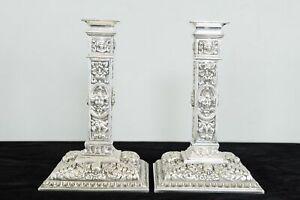 C1890 Antique Elizabethan Revival Silver Plated Candlesticks Candleabra