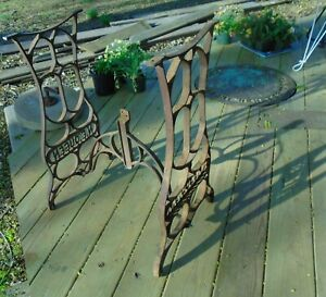Antique 1800s L E Queen Sewing Machine Industrial Cast Iron Table Legs Base