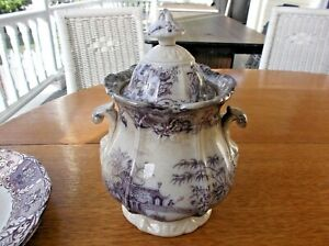Antique English Transferware Purple Covered Sugar Bowl