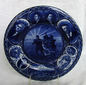 Antique English Staffordshire Plate Dk Blue American Historial Lewis