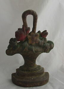 Antique Albany Cast Iron Painted Doorstop Multi Flowers In Handled Basket