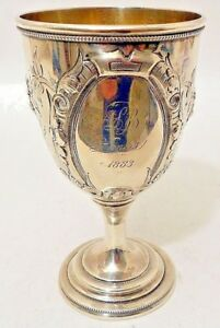 A Repousse Coin Silver Goblet Hyde Goodrich New Orleans C 1853 61