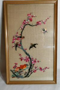 Antique Framed Japanese Or Chinese Silk Embroidery Textile Birds 20 X 12