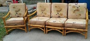Calif Asia Rattan Vtg 4 Pc Sectional Couch Chair Mid Century Bamboo Mcm Set