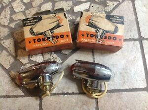 Nib Pair Parking Light Torpedo Red Clear Glass Jewel Lens Vintage Auto Truck