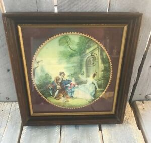 Antique Georgian Era French Silk Work Embroidery Tapestry In Frame