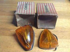 Pair Nib Truck Bus Cab Clearance Lamp Cats eye No 150 Fender Light Amber Lens
