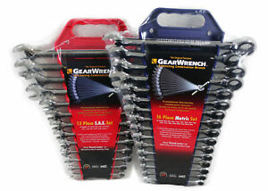 Gearwrench 9312 9416 Metric Sae Ratcheting Combination Wrench Set Kd Tools