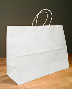 16x6x12 White Paper Retail Vogue Gift Rope Handle Tote Shopping Bags