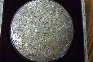 Antique Sterling Silver Compact Silver 950 Queen Star In Original Box