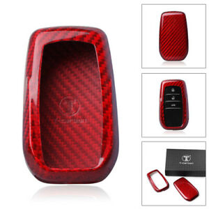 Car Remote Key Cover Case Carbon Fiber Protective Fit Toyota Corolla Camry Crown
