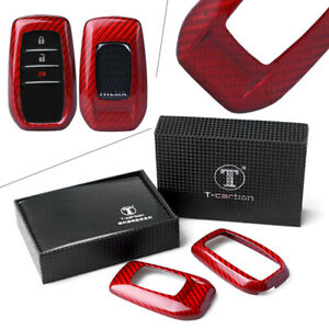 Car 1x Remote Key Cover Case Red Carbon Fiber Fit Toyota Alphard Rav4 Hilux