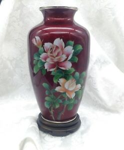 Antique Chinese Sato Meiji Cloisonne Flowers Bamboo Vase Red Pigeon Blood