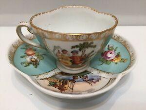 Antique German Dresden Porcelain Hand Painted Cup And Saucer