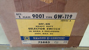 Square D 9001 Gw 119 New In Box Off on Hd Sel Sw Nema 4 600v See Pics a17