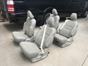 Set Of 4 Tan Color Leather Reclining Captain Seats W Built In Seatbelt Rv Bus